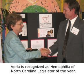 Verla Legislator of the Year, Hemophilia of North Carolina - Click to read the press release